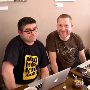 Nik Butler and Aral Balkan sitting in Taylor St Baristas, Queens Road, Brighton